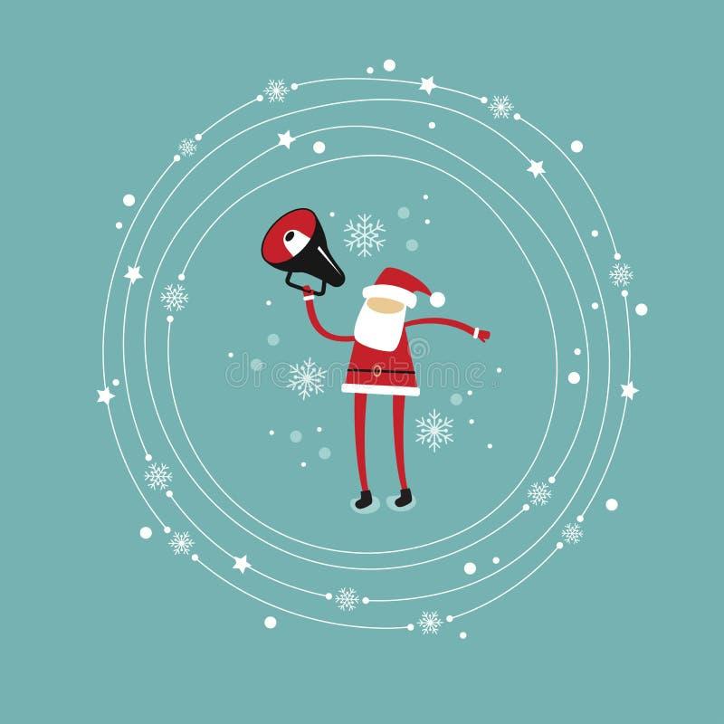 Santa Claus avec un mégaphone illustration de vecteur