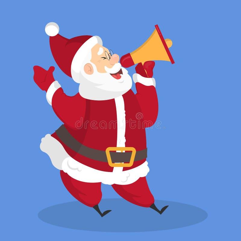 Santa Claus avec un mégaphone font la promotion illustration stock