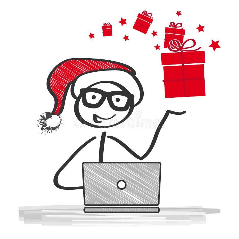 Santa Claus avec un ordinateur portable avant Noël illustration stock
