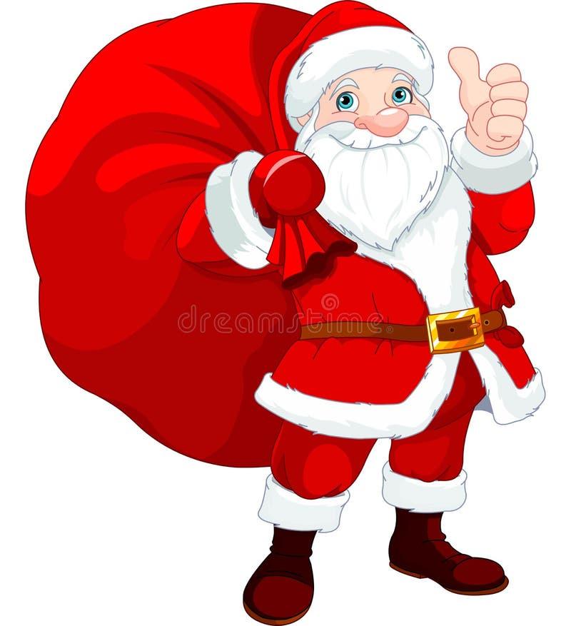 Santa Claus avec un sac illustration stock