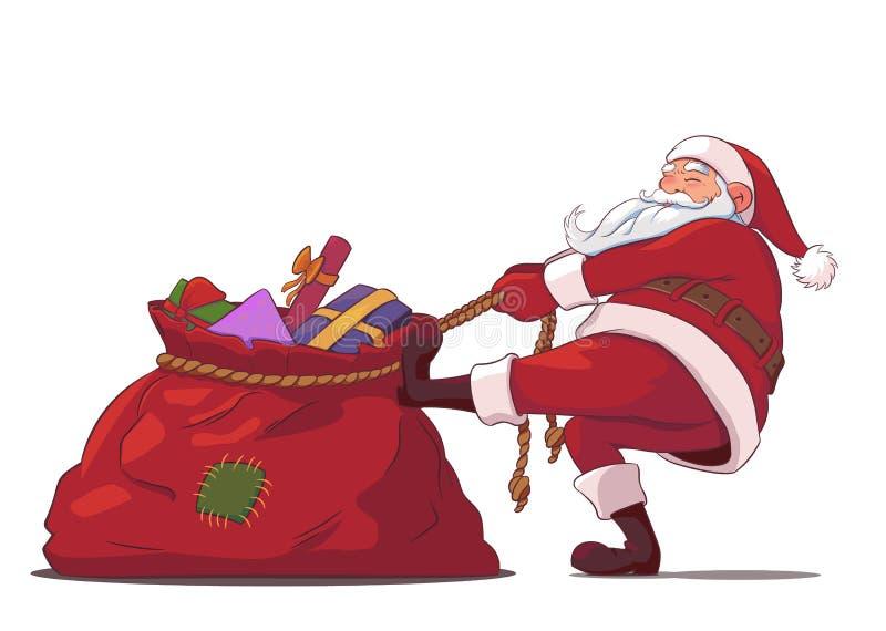 Santa Claus avec un sac des cadeaux illustration libre de droits