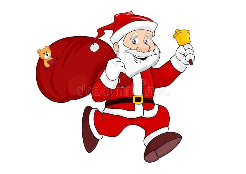 Santa Claus avec un sac des cadeaux illustration stock