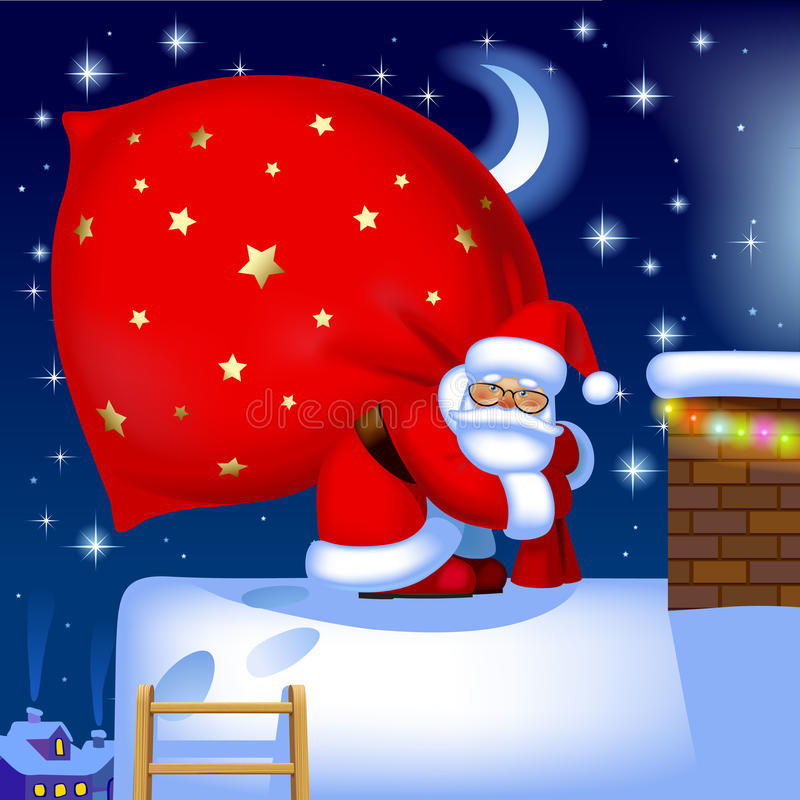 Santa Claus avec un sac sur le toit illustration libre de droits