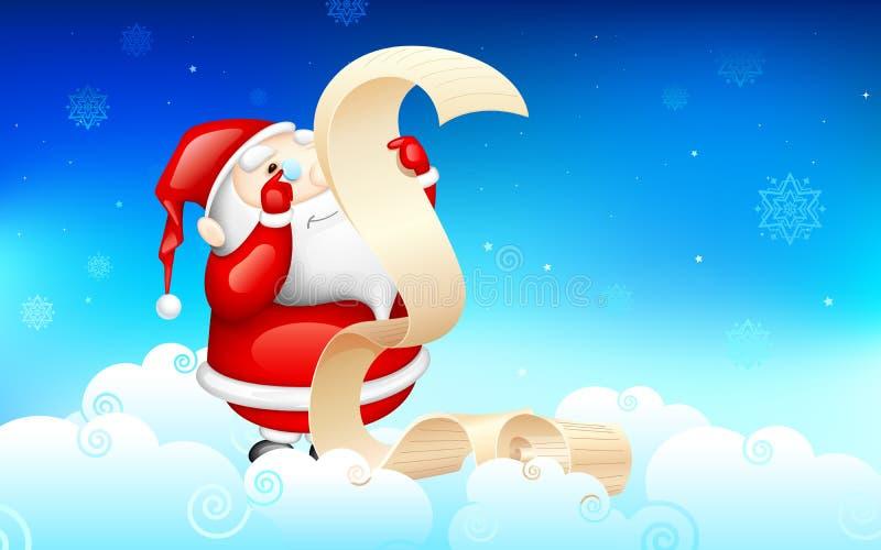 Santa Claus avläsningsönskelista royaltyfri illustrationer