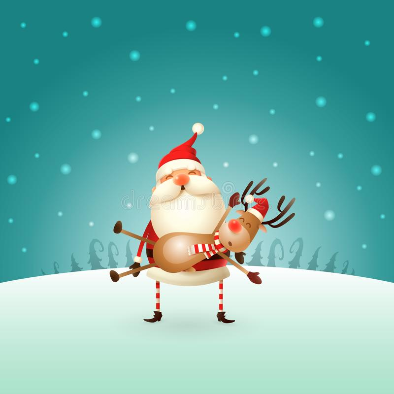 Santa Claus bär en ren på hans händer - vinterlandskap - julkortet stock illustrationer