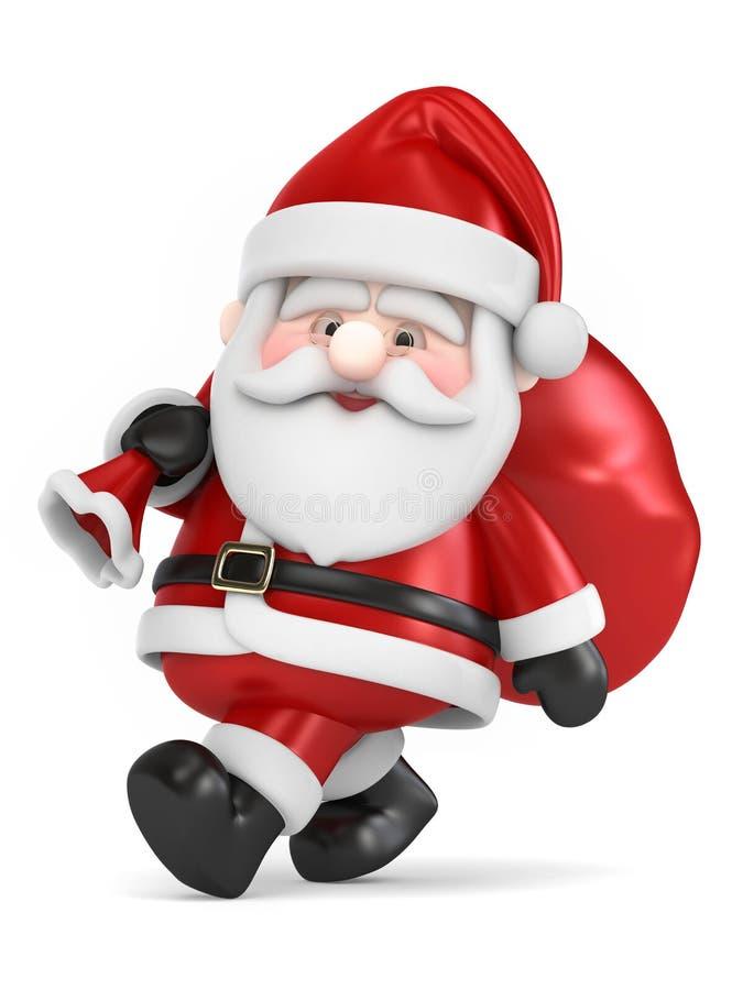 Santa Claus bärande påse av gåvor royaltyfri illustrationer