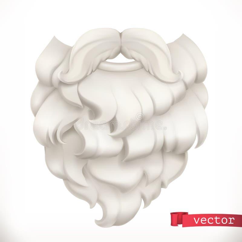 Santa Claus-baard 3d vectorpictogram van het Kerstmismasker royalty-vrije illustratie