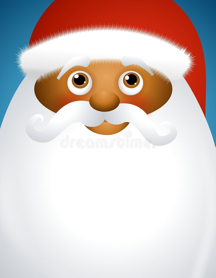 Santa Claus Background 2. An illustration featuring an african american Santa Claus with beard for use as background space stock illustration