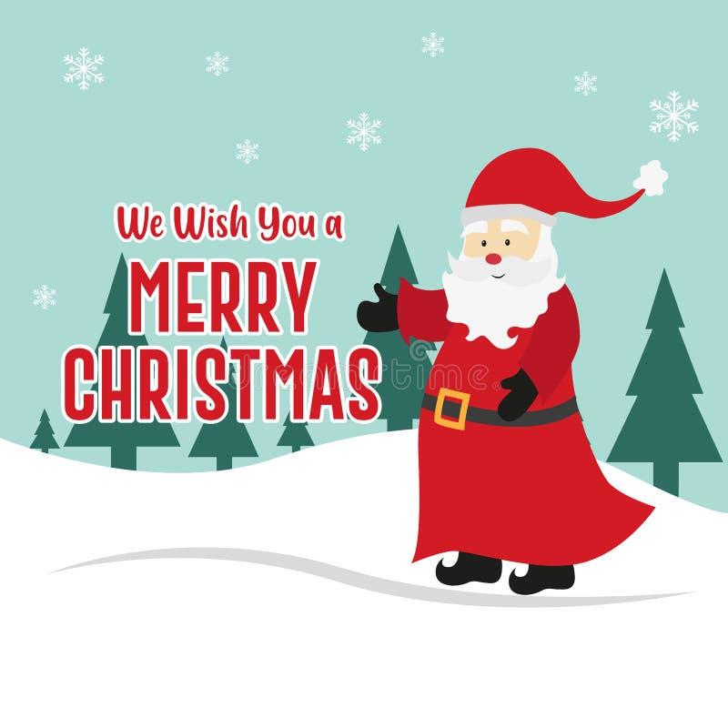 Santa Claus Background Vettore di Buon Natale Albero di Natale Progettazione di festa fotografia stock libera da diritti