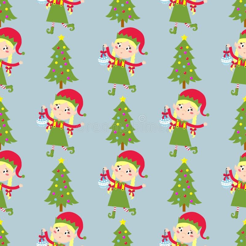 Santa Claus badine le costume sans couture traditionnel de modèle de caractères d'elfes d'enfants d'illustration de vecteur d'aid illustration libre de droits