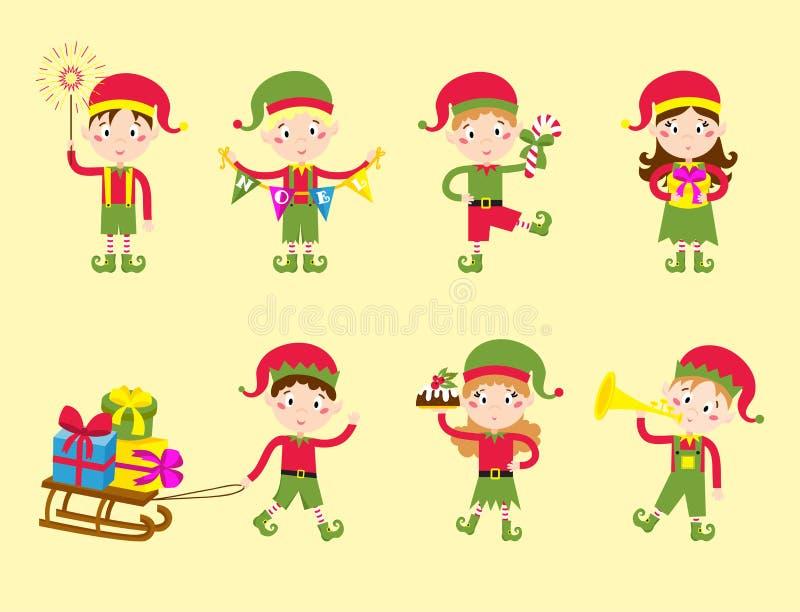 Santa Claus badine le costume traditionnel de caractères d'elfes d'enfants d'illustration de vecteur d'aides d'elfe de bande dess illustration stock