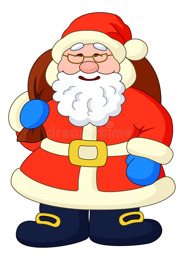 Santa Claus with with bag of gifts vector illustration