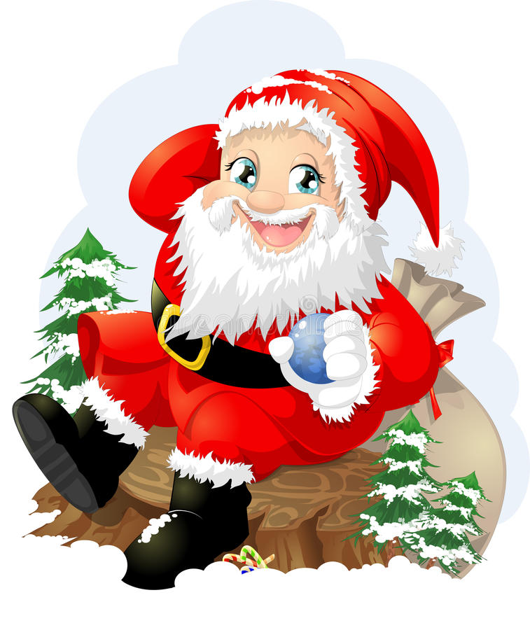Santa claus. With a bag of gifts vector illustration