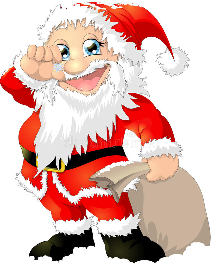 Santa claus. With a bag of gifts royalty free illustration