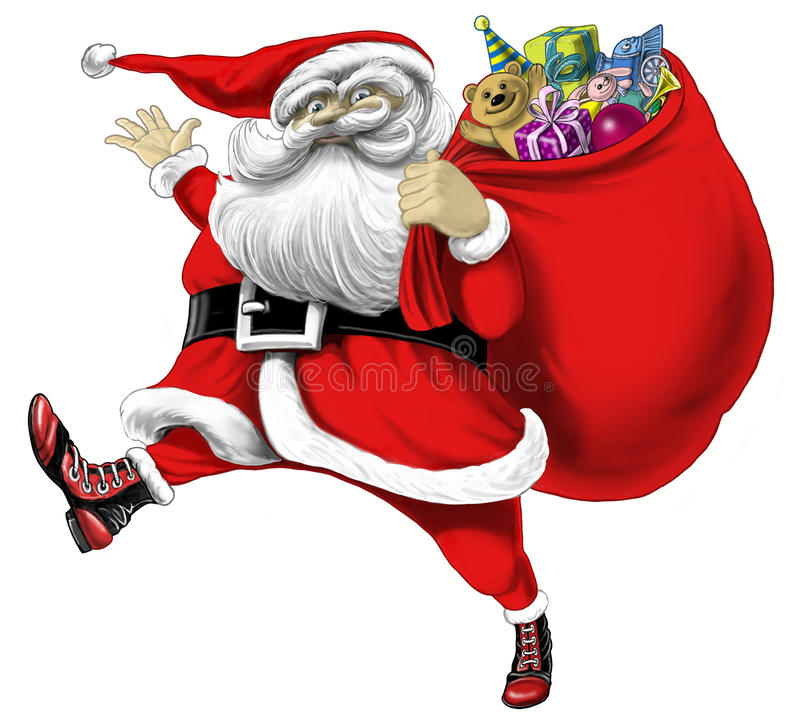 download santa claus with bag of presents stock illustration illustration of card smile - Santa Claus Presents