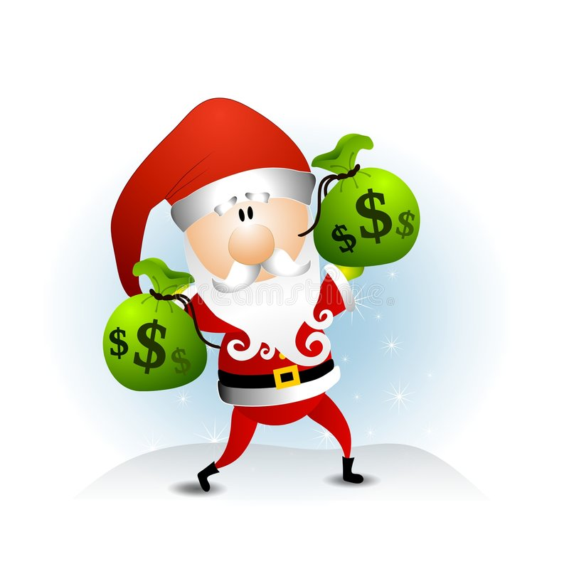 Santa Claus Bags of Money royalty free illustration