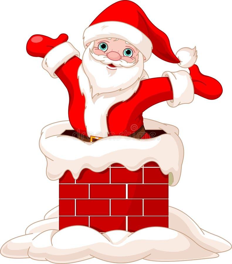 Santa Claus banhoppning från lampglaset royaltyfri illustrationer