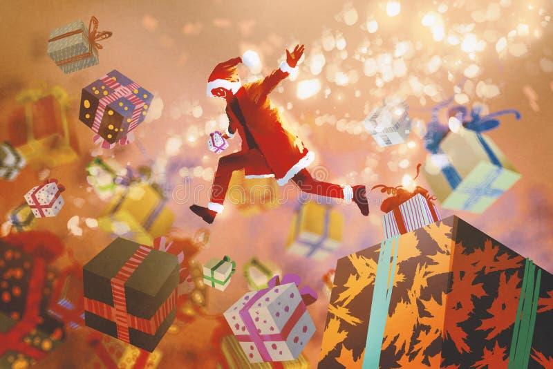 Santa Claus banhoppning in i färgrika gåvaaskar, julbegrepp vektor illustrationer