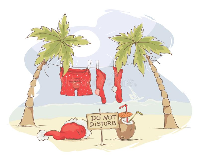 Santa Claus Beach Vacation royalty-vrije illustratie