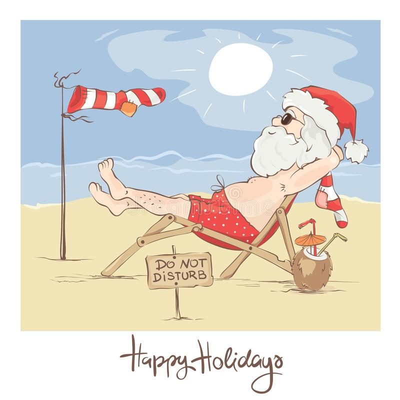 Santa Claus Beach Vacation vector illustratie
