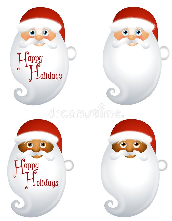 Santa Claus Beard Background. An illustration featuring your choice of Santa Claus beard background or logo - with Happy Holidays or blank - caucasian and stock illustration