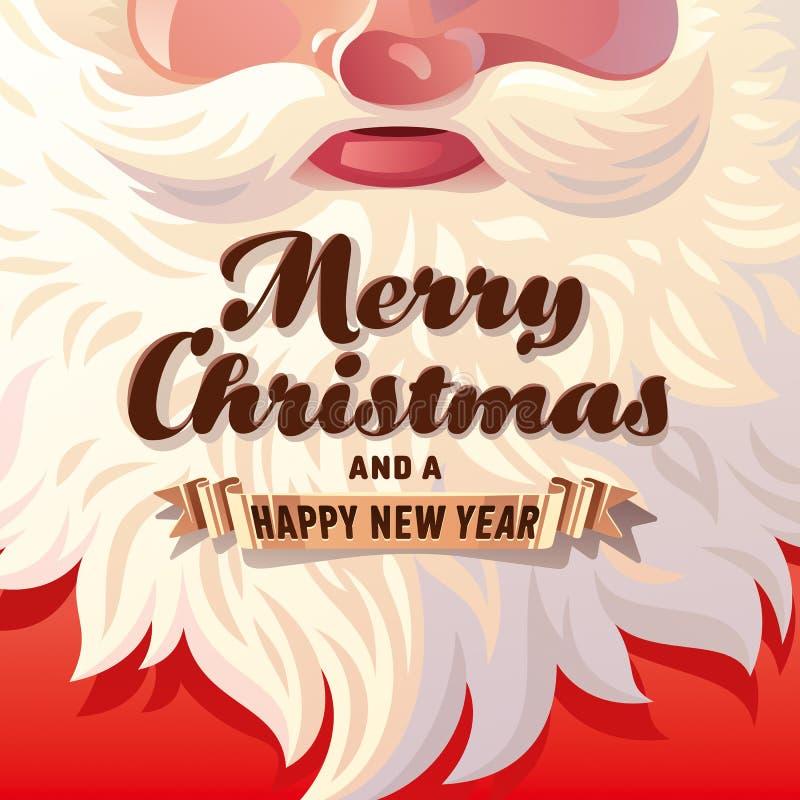 Santa Claus Beard Card ilustração stock