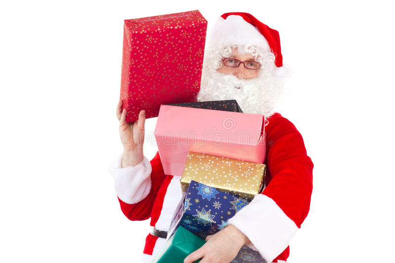 Santa Claus with beautiful gifts stock photography