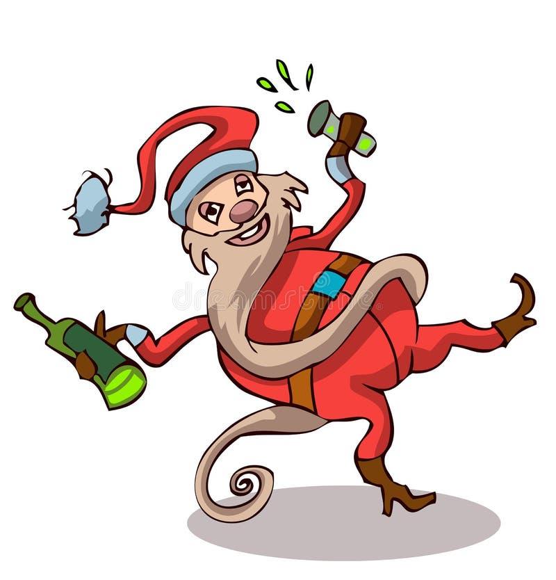 Santa Claus bebida feliz con una botella y un vidrio ilustración del vector