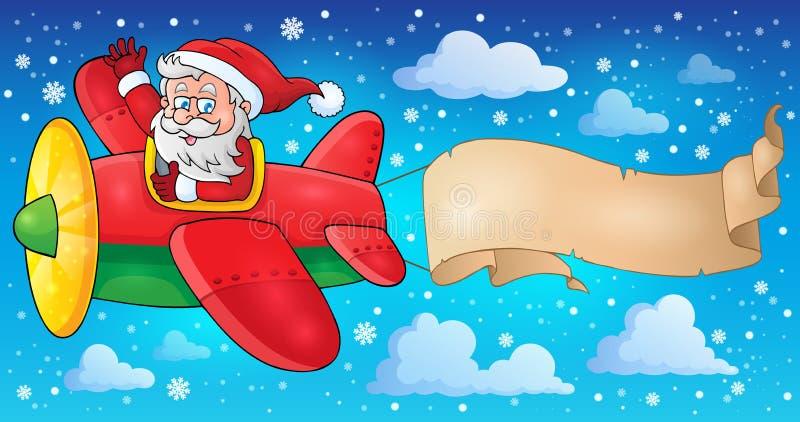 Santa Claus in beeld 5 van het vliegtuigthema vector illustratie