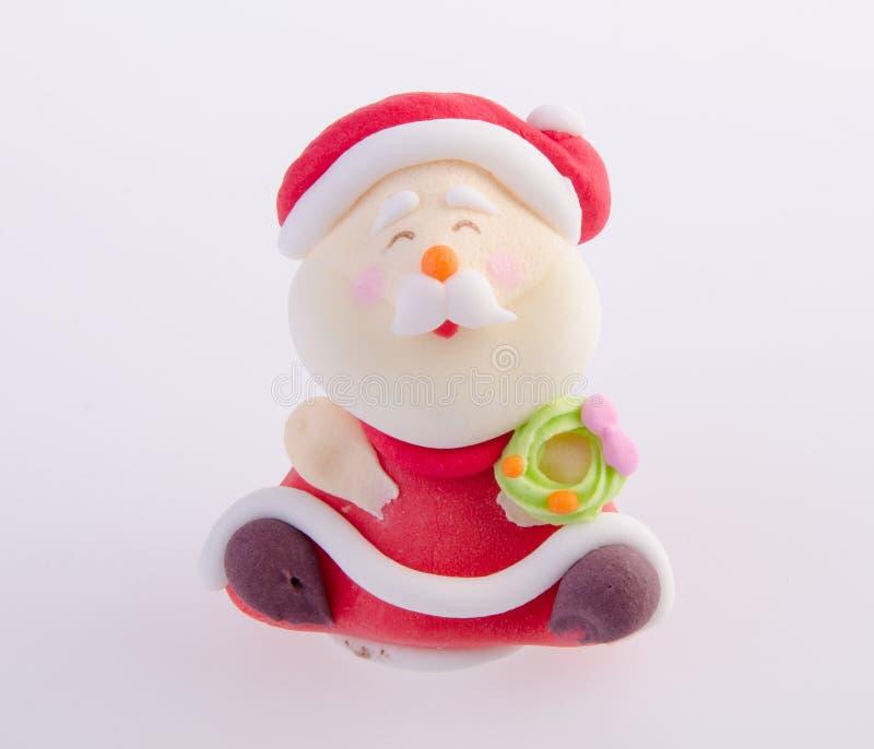 Santa Claus-beeldje op achtergrond stock foto