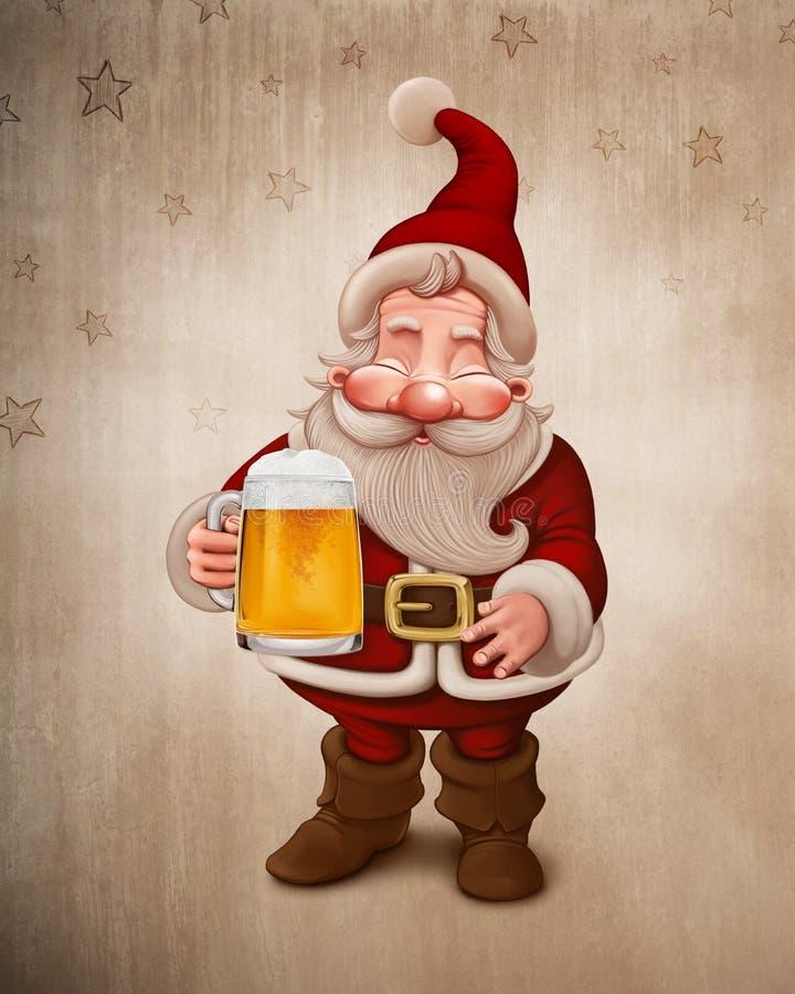 Santa Claus Beer stock de ilustración