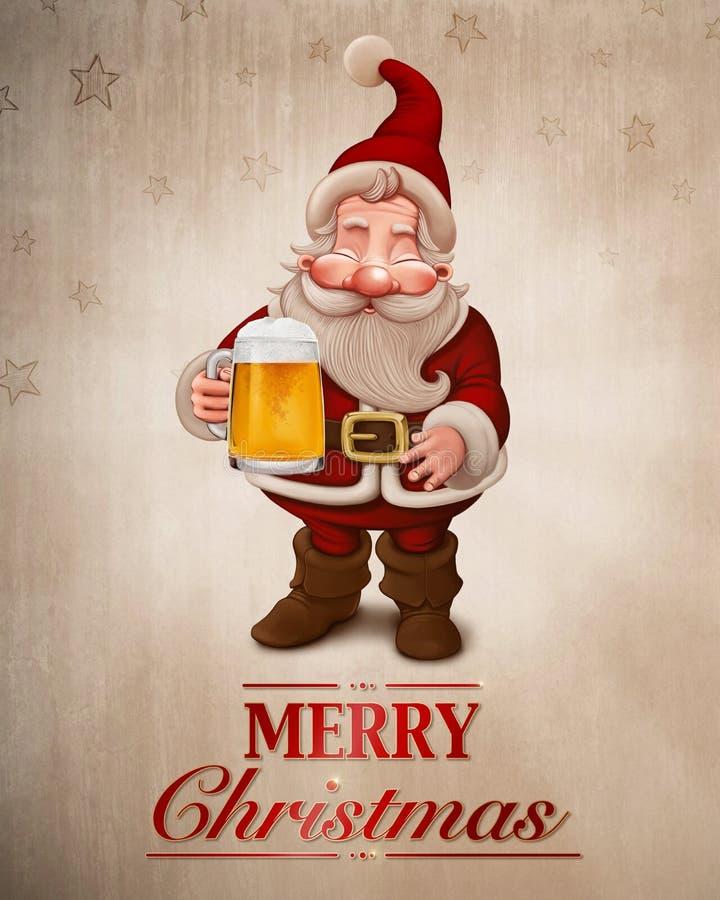 Santa Claus Beer hälsningkort royaltyfri illustrationer