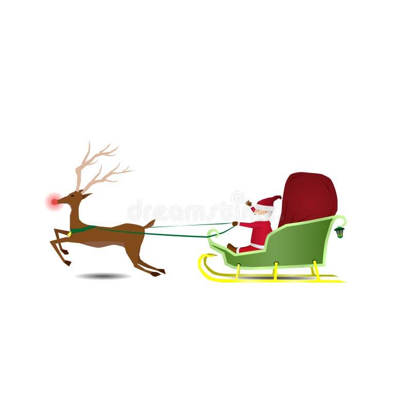 Santa Claus berijdt een ar met een zak van giften stock illustratie