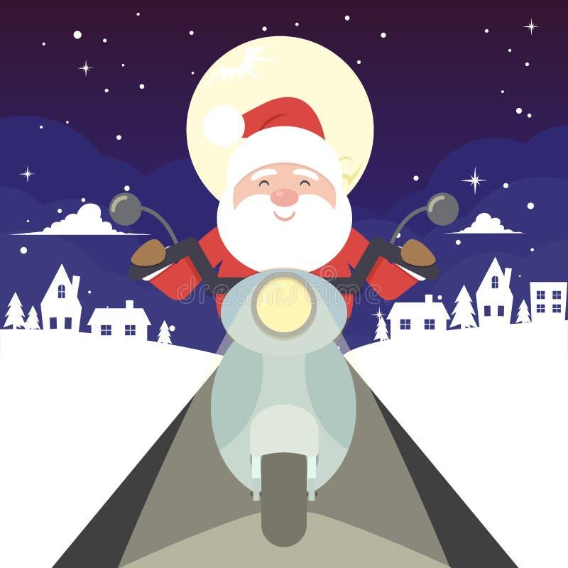 Santa Claus berijdt een motorfiets vector illustratie