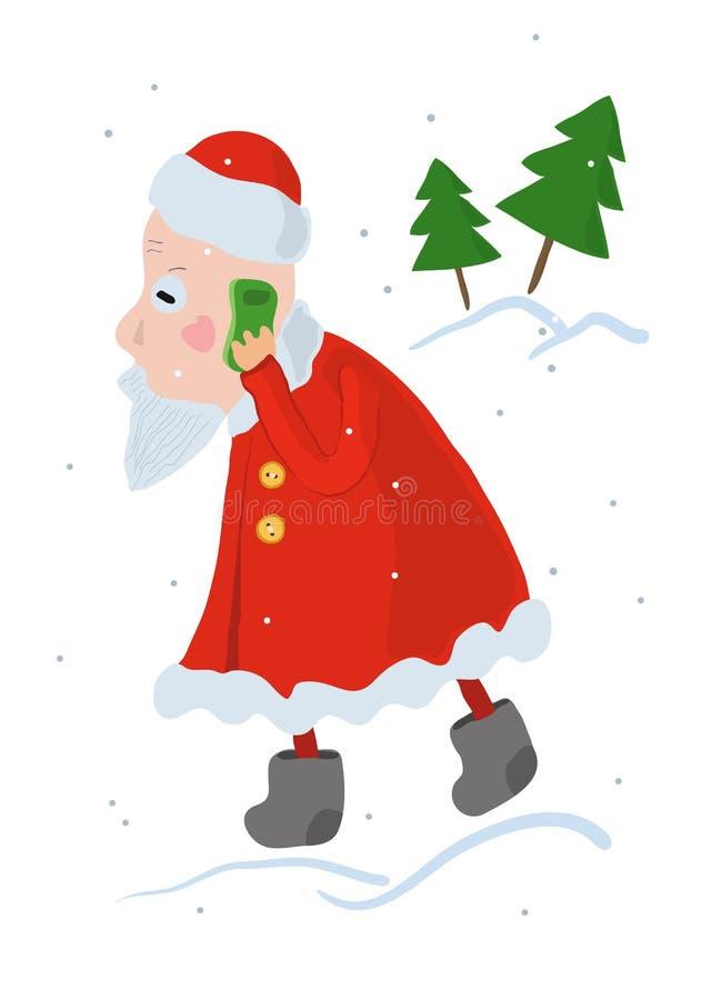 Santa Claus beschäftigt, eine Weihnachtsbestellung an einem Handy entgegennehmend stock abbildung