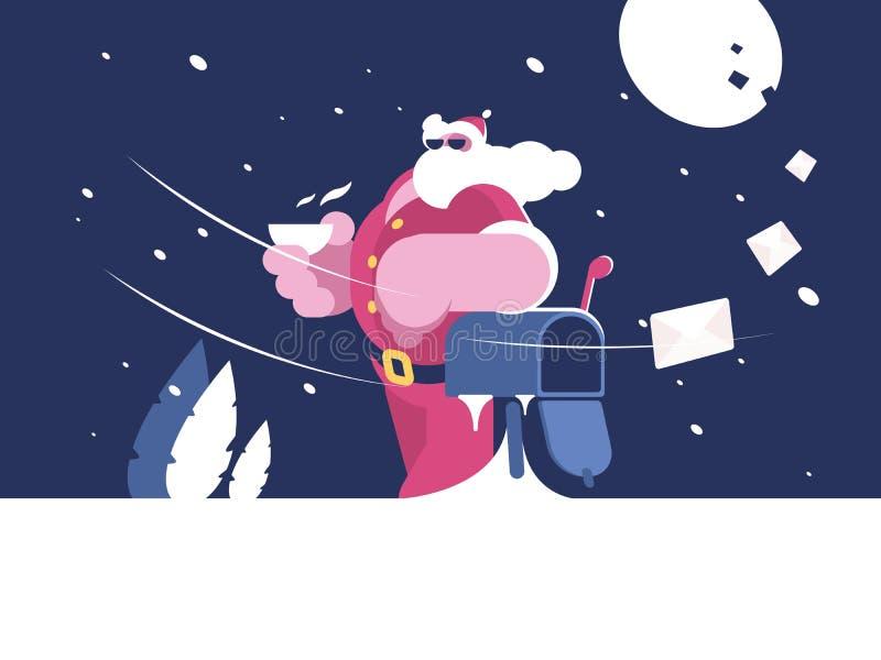 Santa Claus bevindt zich dichtbij brievenbus vector illustratie
