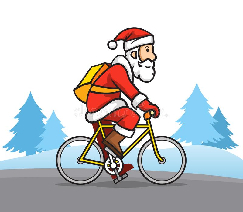 Santa Claus The Bicycle Messenger royalty-vrije illustratie
