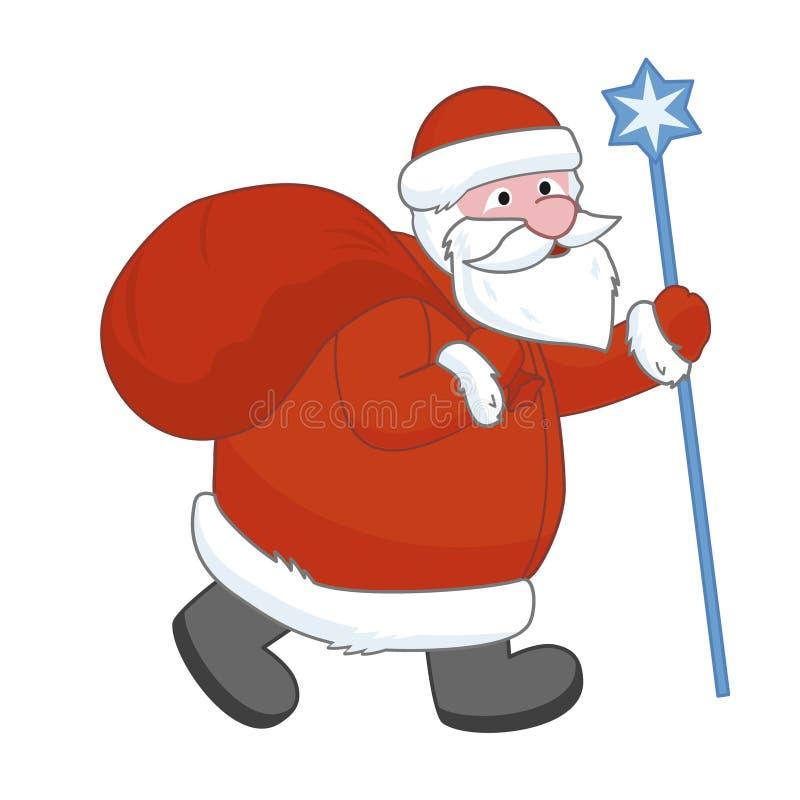 Santa Claus with a big gift bag royalty free illustration