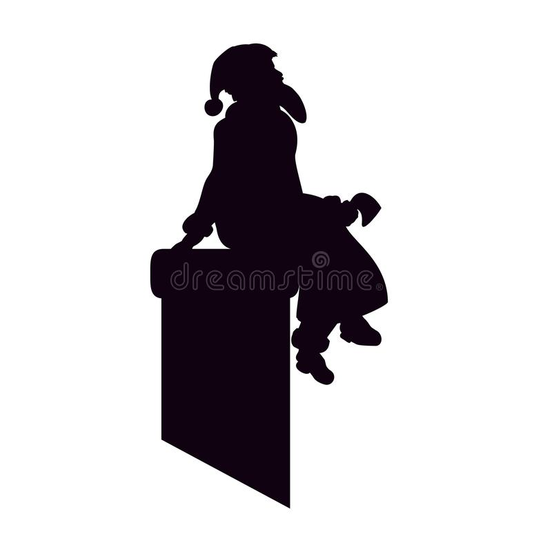 Santa Claus is a black silhouette sitting on chimney. Artwork Happy Christmas. The roof vector illustration.  royalty free illustration