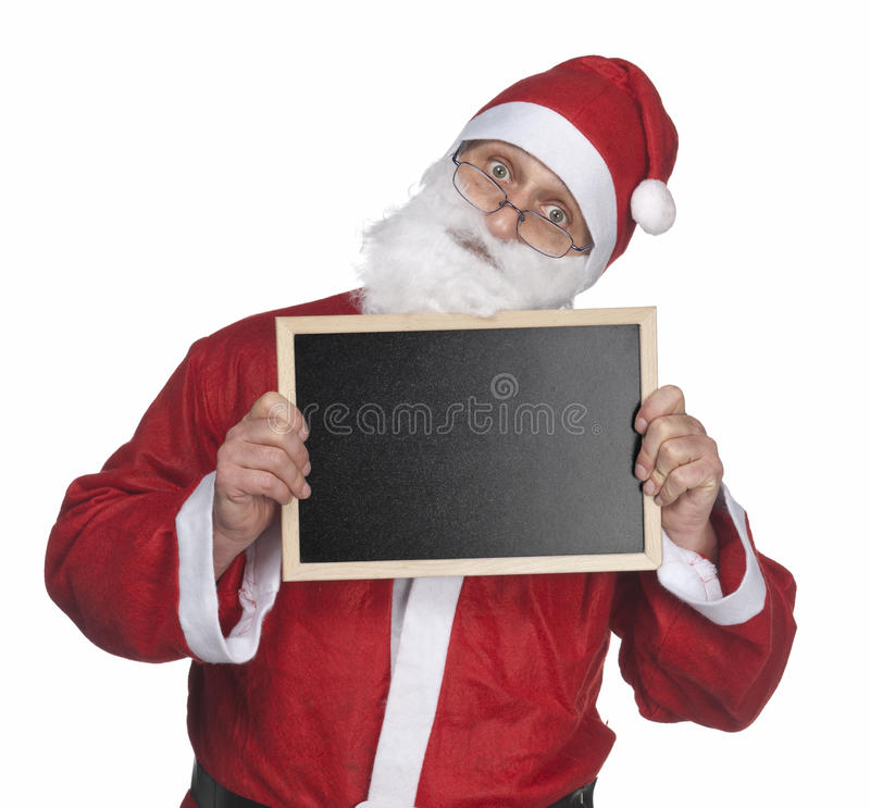 Santa claus and blackboard stock photography