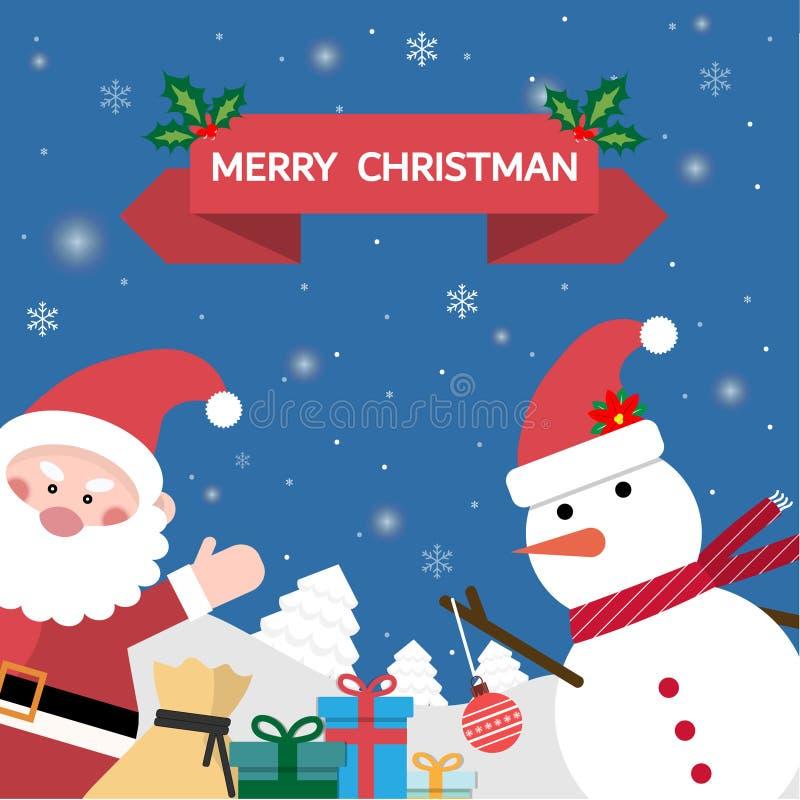 Santa Claus is blij Er vele giften en sneeuwballen in de sneeuw met Kerstmisbericht zijn stock illustratie
