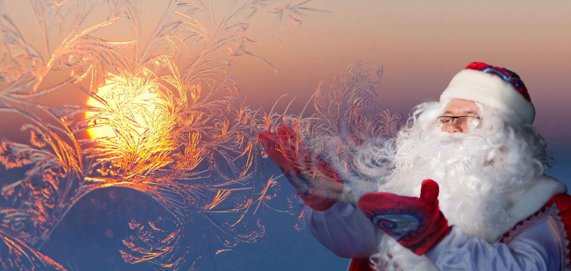 Santa Claus Blowing Frosty Breath fotografia stock