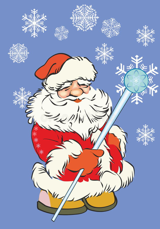 Santa Claus on a blue background stock photo