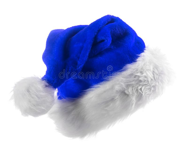 Santa Claus blue hat. Isolated on white background stock photography