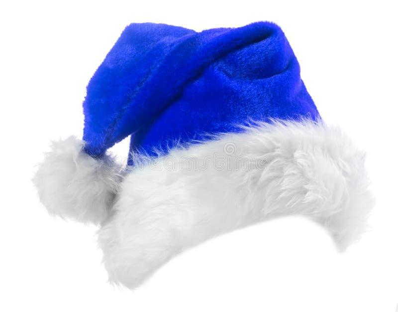 Santa Claus blue hat. Isolated on white background stock image