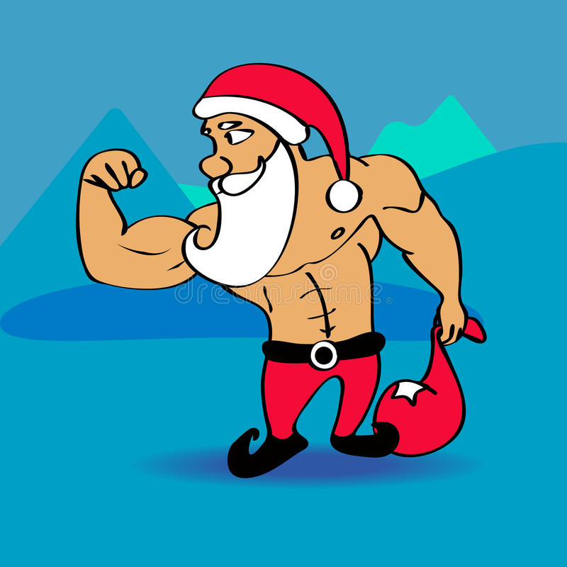Santa Claus Bodybuilder vector illustratie