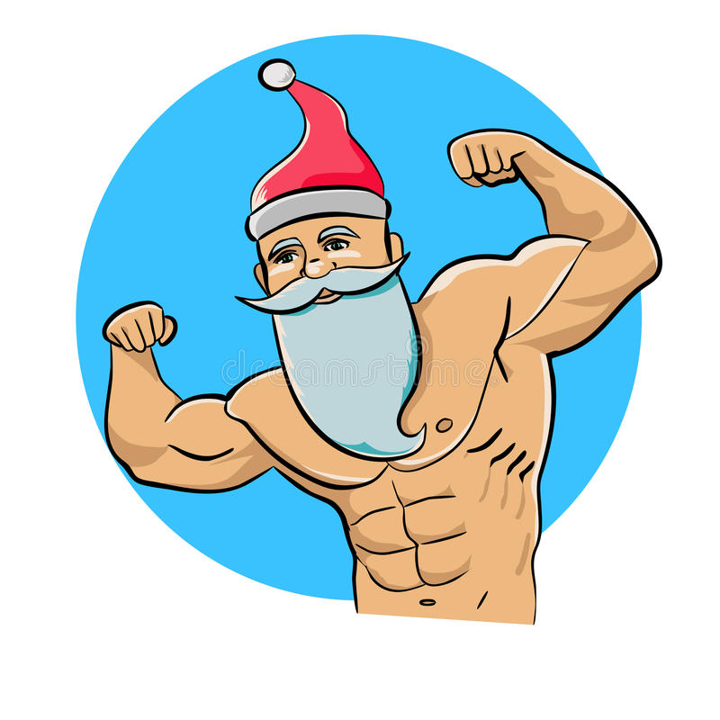 Santa Claus Bodybuilder stock illustratie