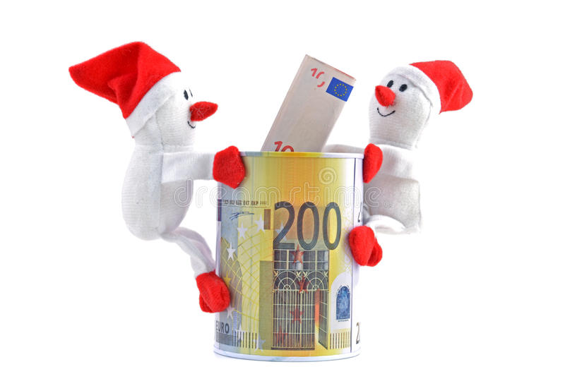 Santa Claus - boneco de neve e dinheiro foto de stock