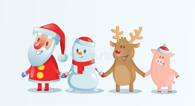 Santa Claus, boneco de neve, rena e terra arrendada leitão, mãos na cena da neve do Natal Companheiros do Natal feliz Vetor liso ilustração stock