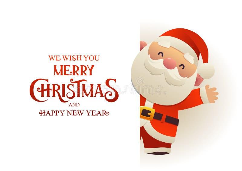 Santa Claus bonito feliz está atrás da bandeira da propaganda do quadro indicador com Feliz Natal do texto e ano novo feliz ilustração do vetor